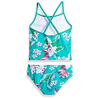 Kanu Surf Toddler Girls' Melanie Beach Sport 2-Pc Banded Tankini Swimsuit, Alania Floral Green, 3T