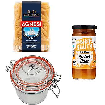 Seven Trees Farm Kit with 4 Products | 1 x Glass Jar 350ml, 1 x Apricot Jam 260g, 1 x Italian Penne Pasta 500g and a FREE Recycle Tree Bag