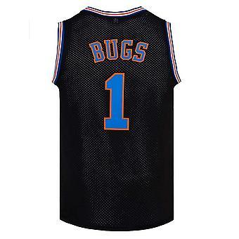 Maillot de basket-ball masculin Bugs #1 Space Movie Jersey Cousu T-shirt Hip Hop des années 90 Jeunes Sports Basket-ball Uniformes Blanc / noir S-xxl