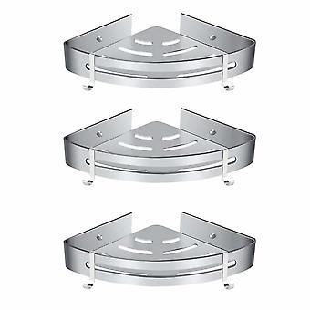 Kein Bohrduschregal, Badezimmer-Eckregal - Aluminium-Aufbewahrungskorb mit Haken, Duschwanne - Aufbewahrungskorb (3 Stück) -matt