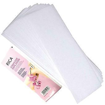 100x Wstępnie wycięte paski Opakowanie włóknina Jednorazowe 70gsm Wosk Wosk Papiery Wycięte