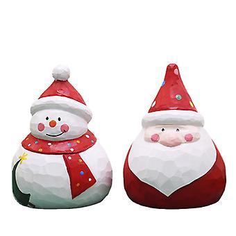 2pcs Wooden Christmas Ornaments Santa Claus Snowman Ornaments Xmas Decoration