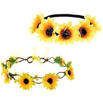 2pcs Sunflower Headbands Sunflower Hair Wreath Stretch Flower Floral Headpiece