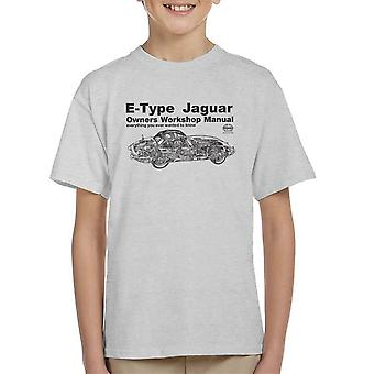 Haynes Owners Workshop Manual Jaguar E Type Black Kid's T-Shirt