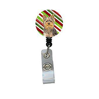 Candy Cane Wakacje Christmas Yorkie / Yorkshire Terrier chowany herbu bębnowa