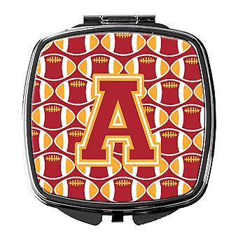 Letter A Football Cardinal and Gold Compact Mirror