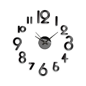 Modern Home Self Adhesive DIY 3D Wall Clock - Art Deco Black