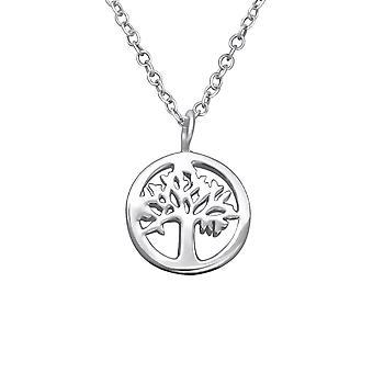 Yaşam Ağacı - 925 Sterling Gümüş Düz Kolye - W30059x