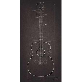 Acoustic Guitar Blueprint Poster Print by Lauren Rader (18 x 36)