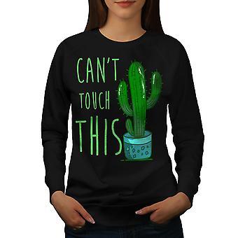 Kaktus Funy Naisten MustaSweatshirt | Wellcoda, mitä sinä olet?