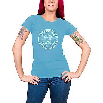 Beatles T paita Sgt Pepper kaviaaria helmet virallinen naisten uusi sininen Skinny Fit