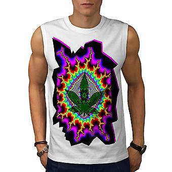 Rasta Weed psykedeliska män WhiteSleeveless T-shirt | Wellcoda