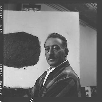 Adolph Gottlieb (1903-74) in his studio.. - 3x2 inch Fridge Magnet - large magnetic button