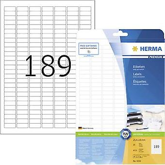 Herma 4333 Labels 25.4 x 10 mm Paper White 4725 pc(s) Permanent All-purpose labels Inkjet, Laser, Copier 25 Sheet A4
