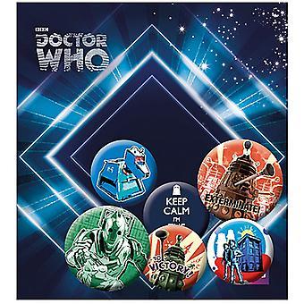Доктор Кто ретро 6 контактный значки в пакет включая сохранять спокойствие, я доктор