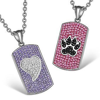 心狼足オーストリア クリスタル愛カップルの最高の友人の犬タグ ホワイト ブラック ピンク パープルのネックレス