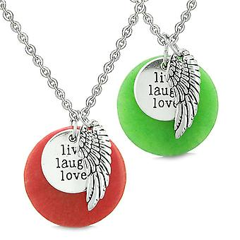 Ange gardien aile Live Laugh Love inspiration amulettes Couples Set colliers rouge Quartz vert