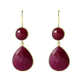 Boucles d'oreilles Gemshine Women's 925 Silver Plated Ruby Red CANDY Drops 6 cm