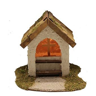 Nativity accessories stable chapel with cross & lighting