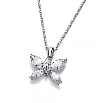 Cavendish French Simple Silver and CZ Butterfly Pendant without Chain