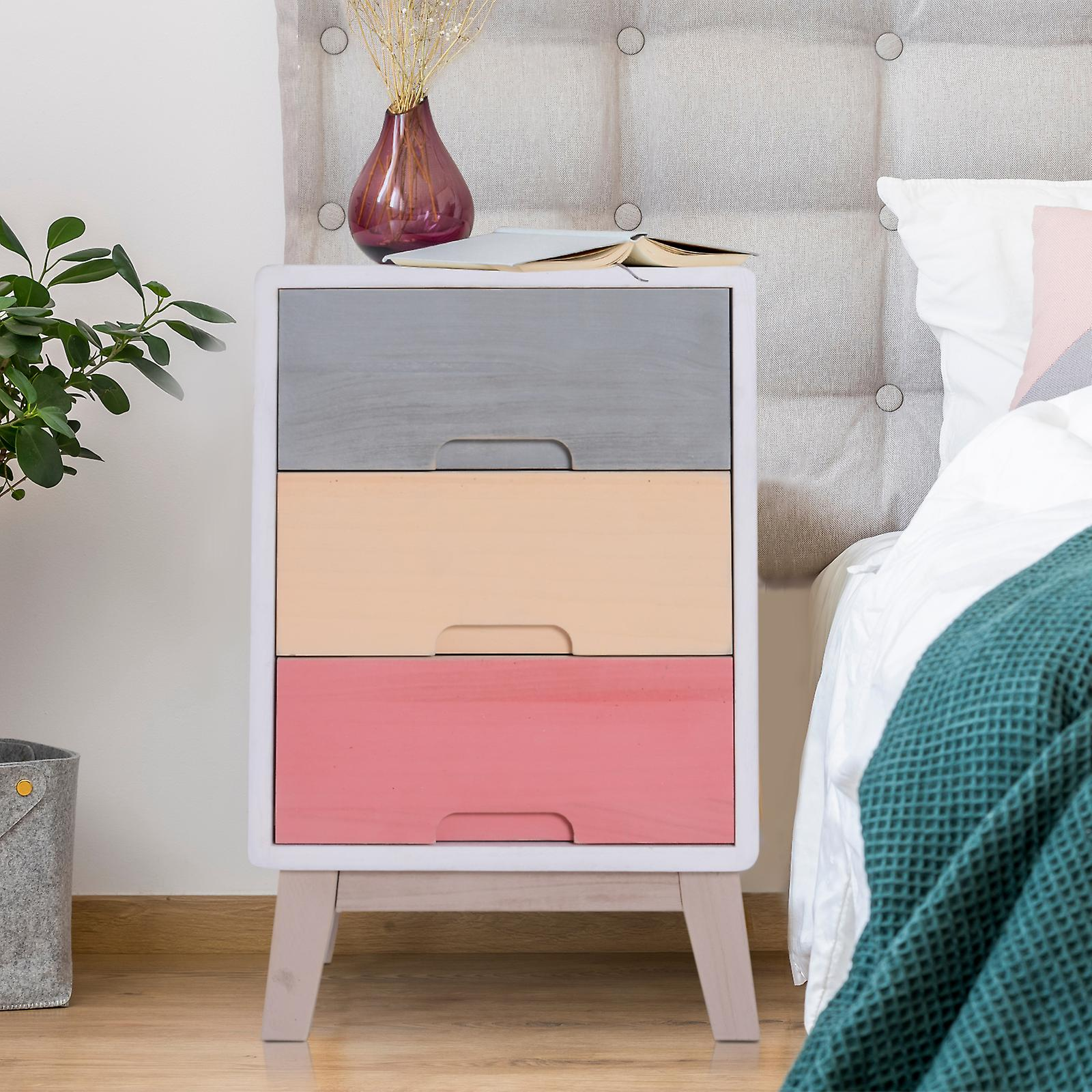 HOMCOM Wood 3 Drawers Chest Storage Stand Colourful Cabinet Bedside Table Night Stand Cabinet