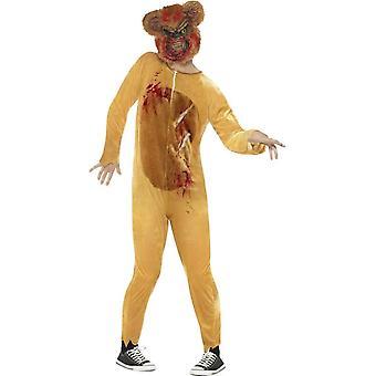 Deluxe Zombie Teddy Bär Kostüm, braun, mit Body & EVA Maske