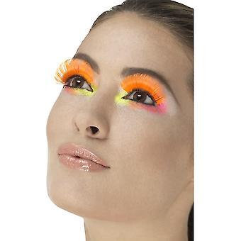 80-talet Party ögonfransar, Neon Orange, innehåller lim