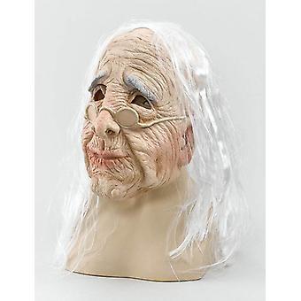 Vanha nainen naamio & hiukset.