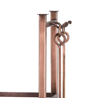 Hill Interiors Copper Finish Square Log Holder With Companion Set