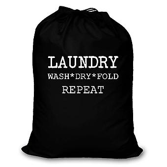 Black Laundry Wash Dry Fold Repeat