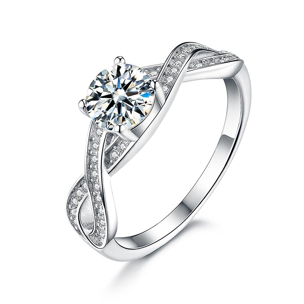 925 Sterling Silver Pave Infinity Engagement With Band Ring Set