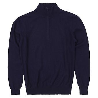 Cashmere Men's Half Zip Sweater, Navy