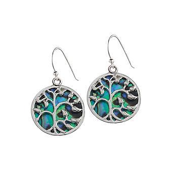 Ewige Sammlung mystischer Paua Shell Lebensbaum Silberfarbe Tropfen Ohrhänger