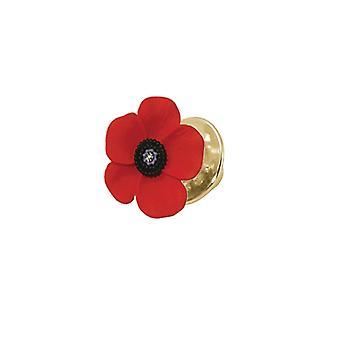 Eeuwige collectie Poppy rood en zwart geëmailleerde Gold Tone Petite Lapel pins