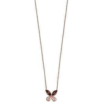 Elementen gouden halve kostbare Vlinder halsketting-roze/bruin/Rose goud