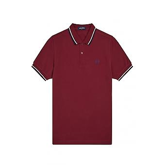 Fred Perry Twin Tipped Polo Shirt Dark Red