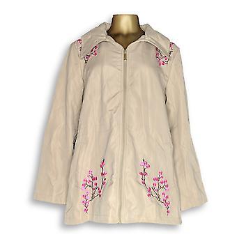 Dennis Basso Kobiety's Wodoodporny haftowany zip beżowy / różowy A307216