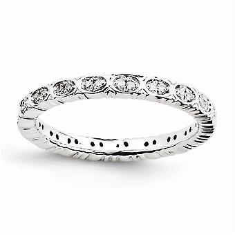 925 Sterling Silver Polished Prong set Rhodium plated Stackable Expressions Diamond Ring Jewelry Gifts for Women - Ring