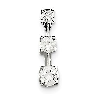925 Sterling Silver Polished Hidden bail 3 Stone CZ Cubic Zirconia Simulated Diamond Pendant Necklace Jewelry Gifts for