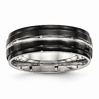 8mm rustfrit stål poleret sort ip ridged kanter ring smykker Gaver til kvinder - Ring Størrelse: 7 til 13