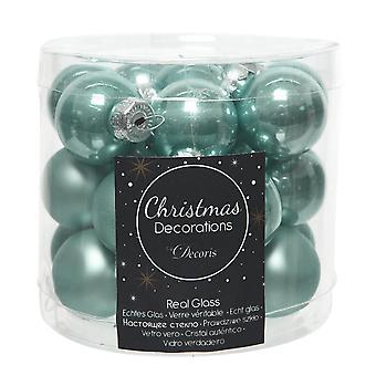 24 2.5cm Arctic Blue Glass Christmas Tree Bauble Decorations