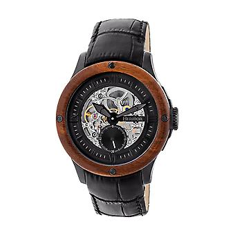Heritor Automatic Belmont Skeleton Leather-Band Watch - Black