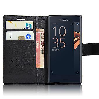 Xperia XA case wallet leeche case black