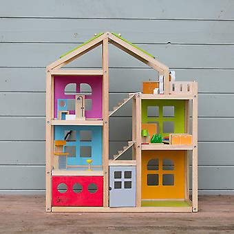 Classic World - DIY Wooden Happy Villa Doll's House with Colourful Furniture Set