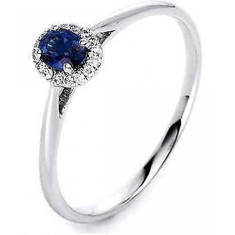 Gemstone Ring Diamonds 0.06 ct. Sapphire 0.29 ct. Size 53