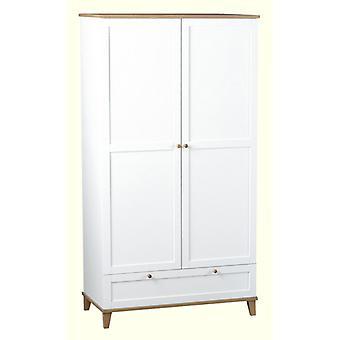 Arcadia 2 Tür 1 Schublade Kleiderschrank weiß/asche