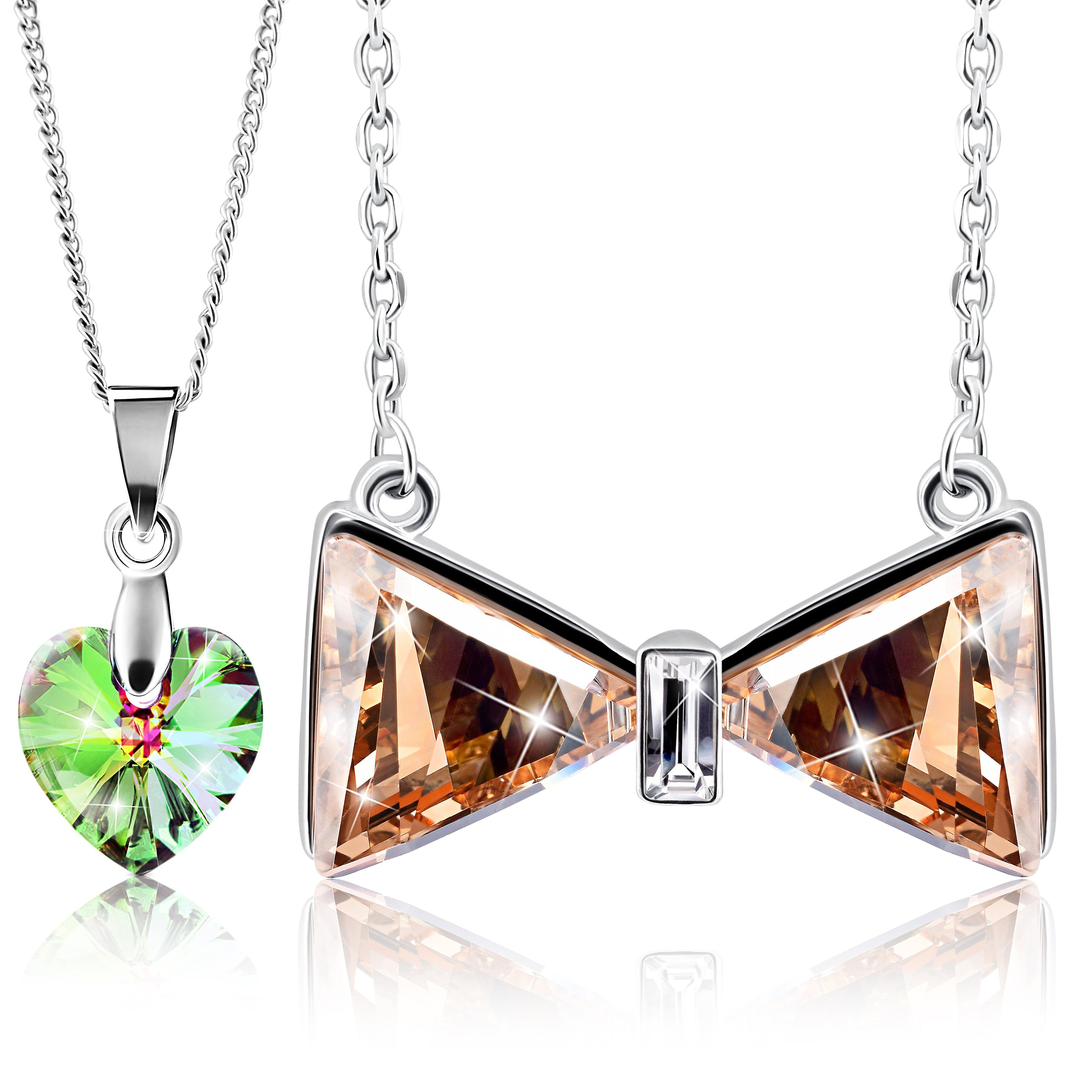 Rhodium plated necklaces with swarovski crystal. pendant necklace. by 2splendid. 2 for 1. gift box included. nnqz021