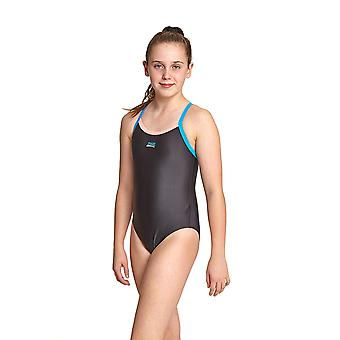 Zoggs Kerrawa Girl's Strikeback One Pieces Swimsuit Black with Thin Straps
