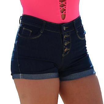 Høj talje denim shorts-mørkeblå