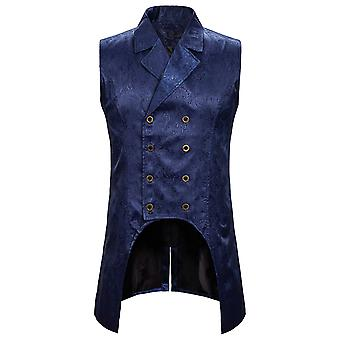 Allthemen Men's Stylish Gorgeous Double-Breasted Embroidered Tuxedo Suit Vest